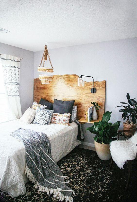 Küçük Yatak Odalarında Ahşap Yatak Başlığı