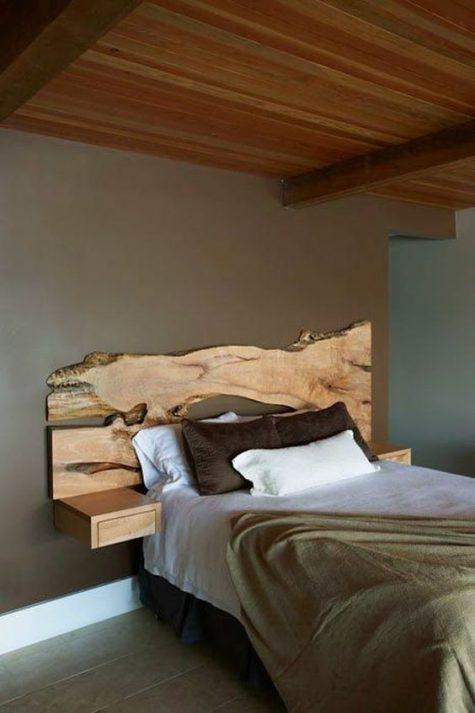 Yatak Odalarında Ahşap Görünümlü Yatak Başlığı Örnekleri