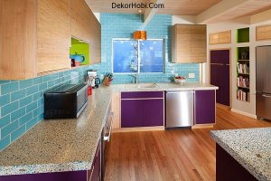 purple-cabinet-doors-with-bright-turquoise-backsplash