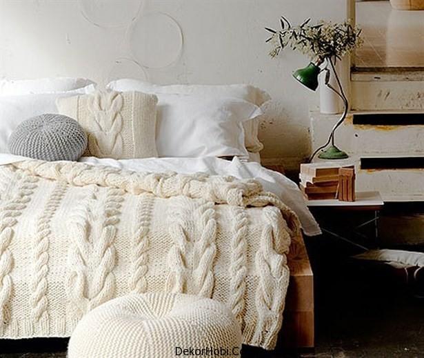örgü yatak örtüsü