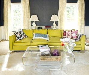 Notr tonlarda oturma odasi icin parlak sari kanepe